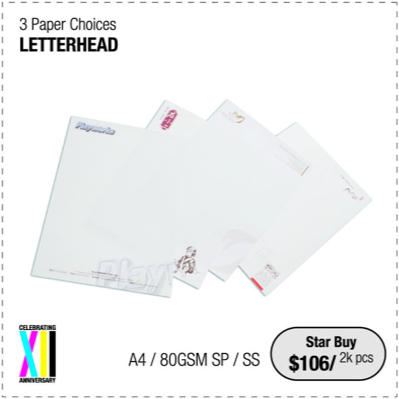 Letterhead printing services. 4 colour process printing. 80gsm, 100gsm simili or woodsfree paper